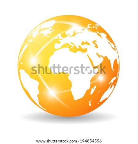 Glossy earth icon - stock vector
