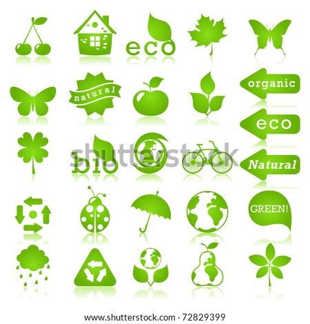 Glossy ecology icon set - stock vector