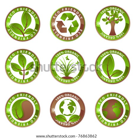 Glossy Ecology Labels - stock vector