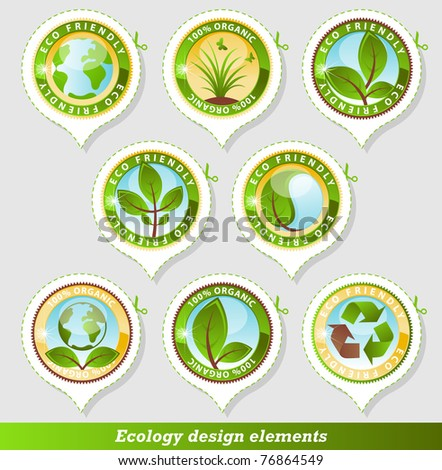 Glossy ecology stickers - stock vector