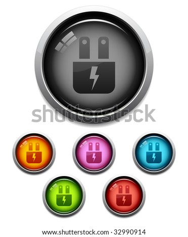 Glossy electric plug button icon set in 6 colors - stock vector