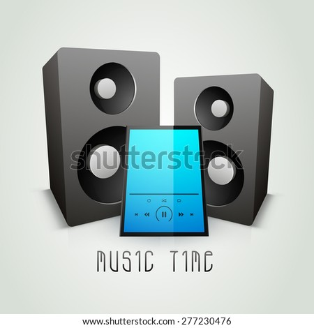 Glossy electronic speakers with music player on grey background.  - stock vector
