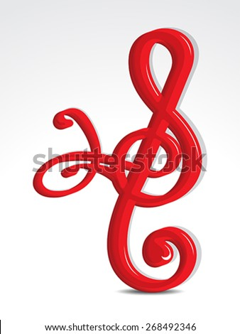glossy embossed musical word vector illustration - stock vector