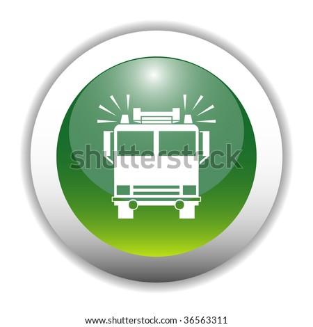 Glossy Fire Brigade Bus Sign Button - stock vector