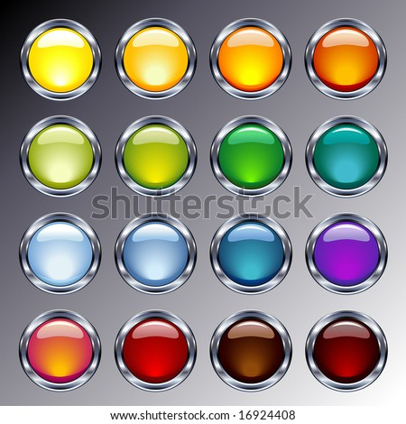 glossy glass and chrome web buttons - stock vector
