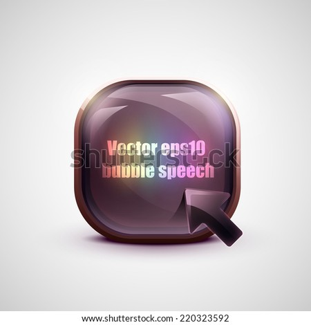 Glossy glass 3d shiny web button element. - stock vector