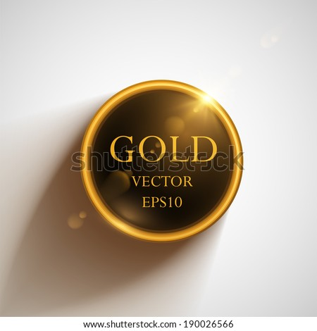 Glossy glass shiny bubble speech. Vector golden web button. - stock vector