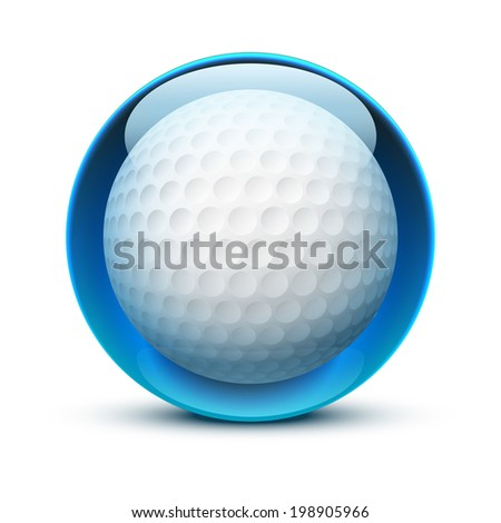 Glossy Glass sports icon with a golf ball. Button for a site or application. Vector illustration. Isolated on white background. - stock vector