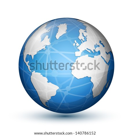 Glossy globe icon. Global communication concept. Vector illustration - stock vector