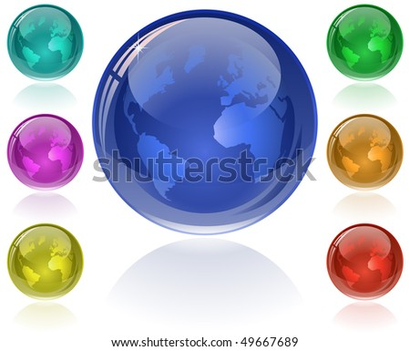 Glossy Globe. Set of glossy globes in 7 different color. Only simple gradient (transparency is not used) - stock vector
