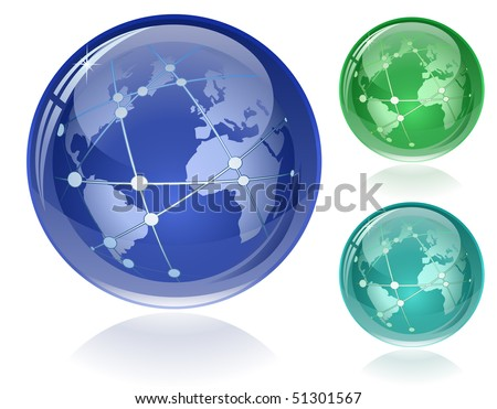 Glossy Globe with Orbits. Only simple gradient used. EPS8