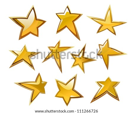 Glossy gold and yellow stars icons and symbols isolated on white background, such a logo. Jpeg version also available in gallery - stock vector