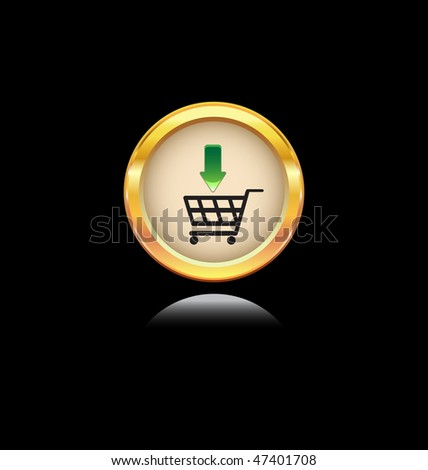 glossy gold button with shopping symbol - stock vector