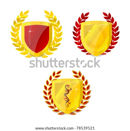 glossy gold classic emblem set isolated - stock vector