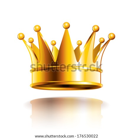 Glossy golden crown isolated on white photo-realistic vector illustration - stock vector