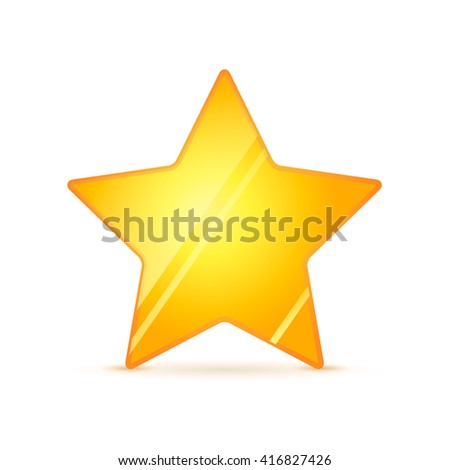 Glossy golden rating star with shadow isolated on white - stock vector