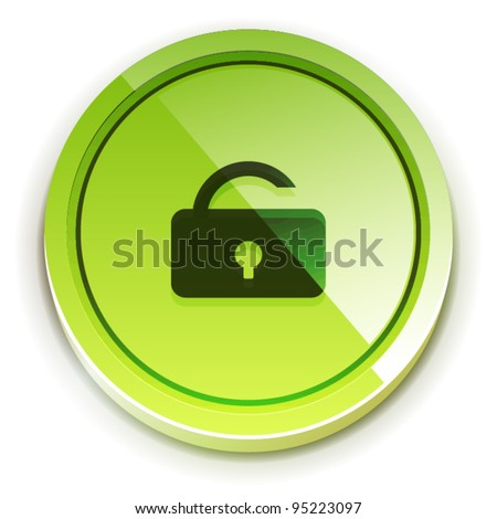 Glossy green bright lock unlock button with open lock symbol - stock vector