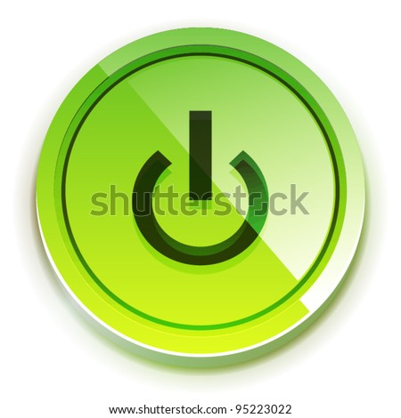 Glossy green bright power button with power symbol - stock vector