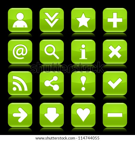 Glossy green button with basic sign. Rounded square shape internet web icon with  color reflection on black background. This vector illustration saved 8 eps