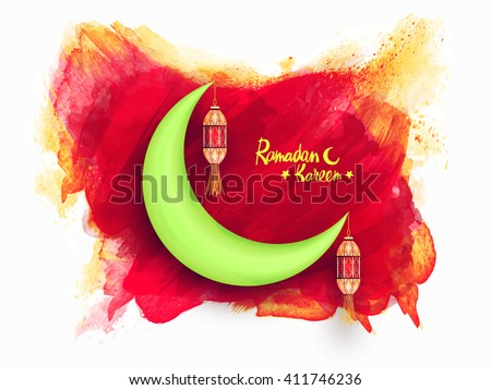 Glossy green crescent moon with hanging lamps on abstract paint stroke background for Holy Month of Fasting, Ramadan Kareem celebration. - stock vector