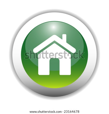 Glossy Green Home Sign Icon - stock vector
