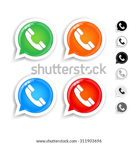 Glossy green, orange, blue, red phone handset in speech bubble vector icons set. Black and white versions. Isolated vector illustrations. - stock vector