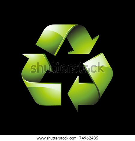 Glossy green recycle icon - stock vector