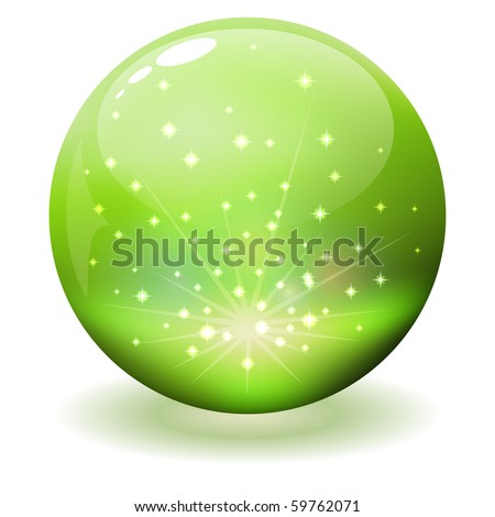 Glossy green sphere with sparks inside. - stock vector