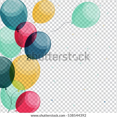 Glossy Happy Birthday Balloons on Transparent Background Vector Illustration eps10