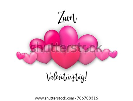 Happy Valentines Day   Zum Valentinstag German Language. Realistic 3d Heart  Romantic Isolated