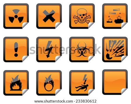 Glossy hazard warning stickers, with one blank sticker for your additions - stock vector