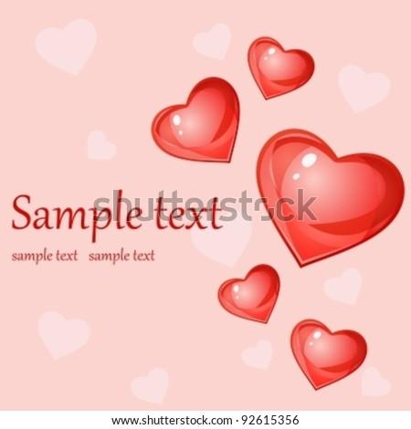 Glossy hearts - stock vector