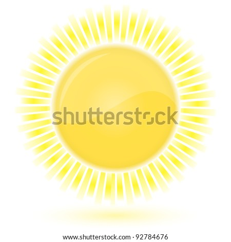Glossy icon of Sun. Vector illustration - stock vector