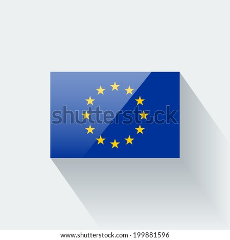 Glossy icon with flag of European Union. Correct proportions and color scheme. - stock vector