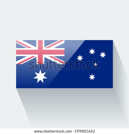 Glossy icon with national flag of Australia. Correct proportions and color scheme. - stock vector