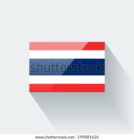 Glossy icon with national flag of Thailand. Correct proportions and color scheme. - stock vector