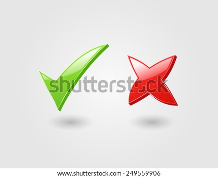 Glossy icons of check and cross marks - stock vector