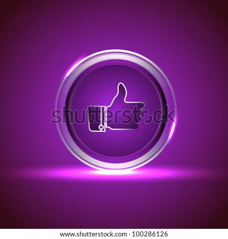 Glossy isolated website and internet web 2.0 icon with like button in purple color. EPS 10. - stock vector