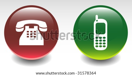 Glossy Land Phone & Cellphone Sign Icons - stock vector