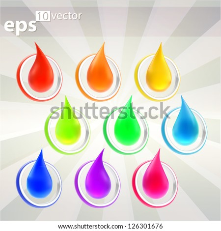 Glossy liquid drop inside of a round ring as vector emblem color indicator, nine color versions - stock vector
