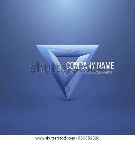 Glossy Logo Design. Abstract Polygon Triangle. Colorful Icon. Vector Illustration.  - stock vector
