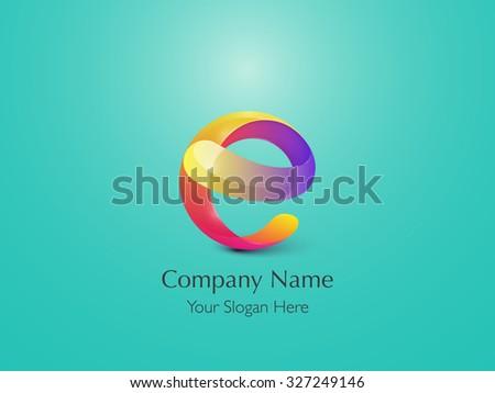 Glossy Logo Design. Letter E. Colorful Icon. Vector Illustration. - stock vector