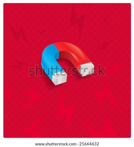 glossy magnet icon - stock vector
