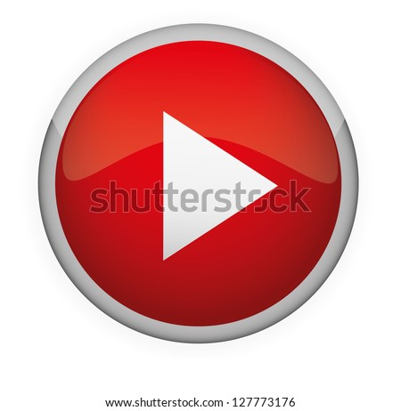Glossy media button,Play . Vector - stock vector