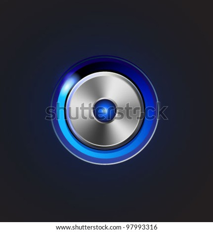 Glossy media player metal button. Vector illustration - stock vector