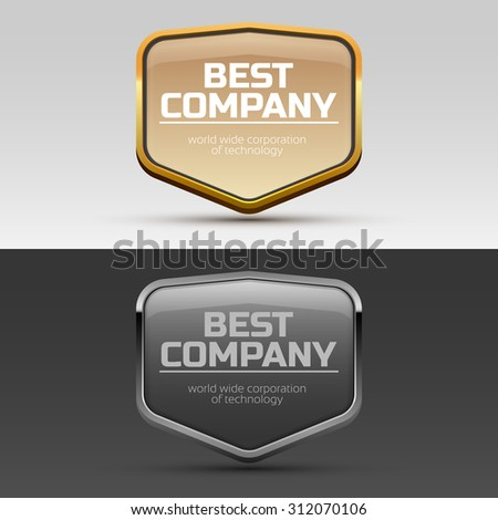 Glossy Metal frames for brand or company name - stock vector