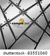 Glossy metal plate vector background with screw and rivets. - stock photo