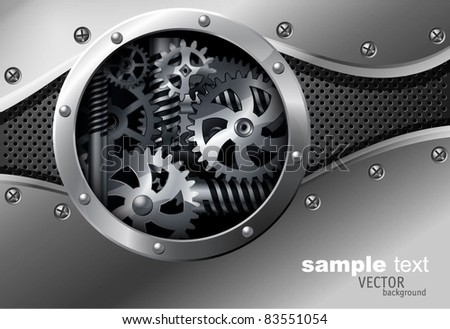 Glossy metal plate vector background with screw and rivets. - stock vector