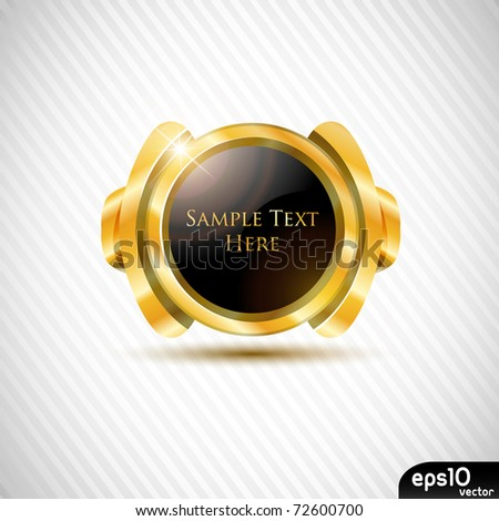 Glossy metal speech bubble (rich frame with black gem) - stock vector