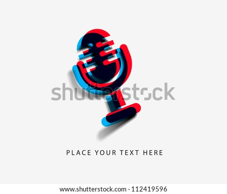 glossy mic icon, isolated on white background. - stock vector